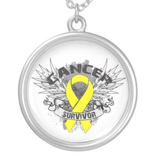 Testicular Cancer Survivor Grunge Winged Necklace