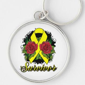 Testicular Cancer Survivor Rose Grunge Tattoo Key Chain