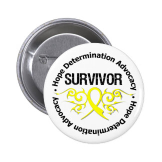 Testicular Cancer Survivor Tribal Ribbon Pin