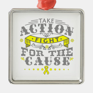Testicular Cancer Take Action Fight For The Cause Square Metal Christmas Ornament