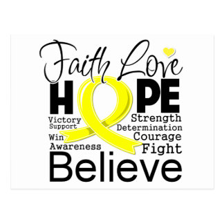 Testicular Cancer Typographic Faith Love Hope Postcard
