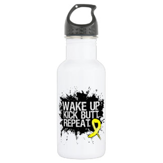 Testicular Cancer Wake Up Kick Butt Repeat 18oz Water Bottle