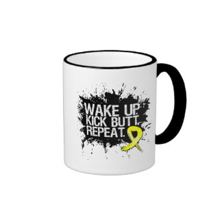 Testicular Cancer Wake Up Kick Butt Repeat Ringer Coffee Mug