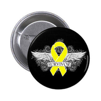 Testicular Cancer Winged SURVIVOR Ribbon Pinback Button