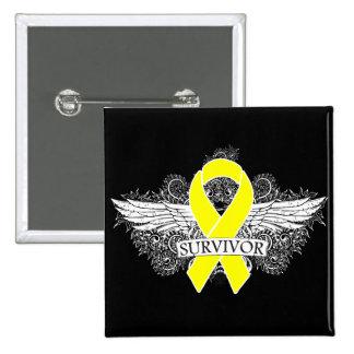 Testicular Cancer Winged SURVIVOR Ribbon Pins