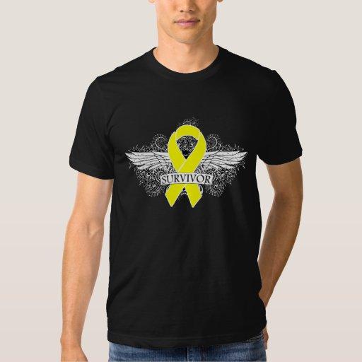 Testicular Cancer Winged SURVIVOR Ribbon T Shirt