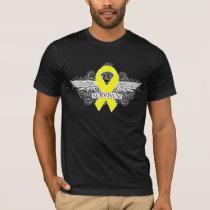 Testicular Cancer Winged SURVIVOR Ribbon T-Shirt