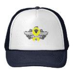 Testicular Cancer Winged SURVIVOR Ribbon Trucker Hat