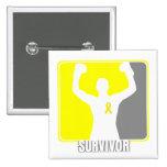 Testicular Cancer Winning Survivor Pinback Buttons