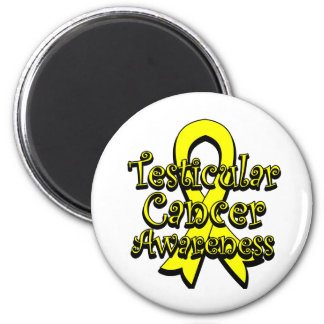 Testicular Cancer Yellow Awareness Ribbon 2 Inch Round Magnet