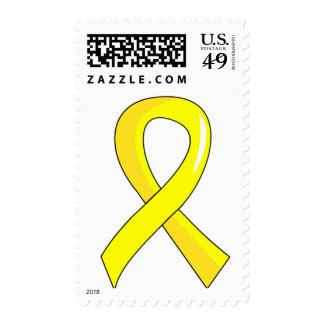 Testicular Cancer Yellow Ribbon 3 Postage Stamps