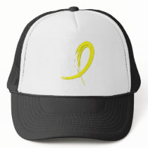Testicular Cancer Yellow Ribbon A4 Trucker Hat