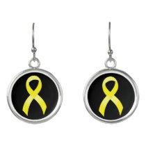 Testicular Cancer Yellow Ribbon Earrings