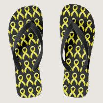 Testicular Cancer Yellow Ribbon Flip Flops