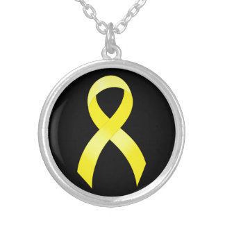 Testicular Cancer Yellow Ribbon Silver Plated Necklace