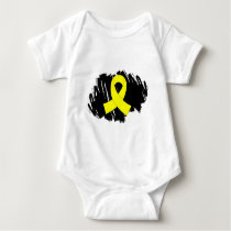 Testicular Cancer Yellow Ribbon With Scribble Baby Bodysuit