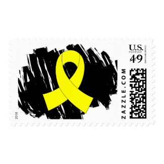 Testicular Cancer Yellow Ribbon With Scribble Postage Stamps