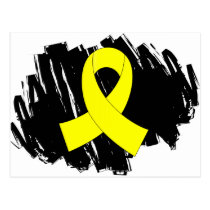 Testicular Cancer Yellow Ribbon With Scribble Postcard