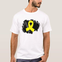 Testicular Cancer Yellow Ribbon With Scribble T-Shirt