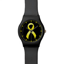 Testicular Cancer Yellow Ribbon Wrist Watch