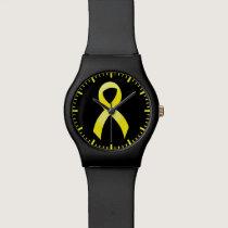 Testicular Cancer Yellow Ribbon Wristwatch