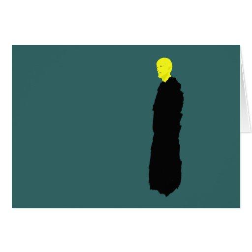 Testigo amarillo del monje el extremo tarjetón