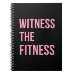 Testigo de la cita de entrenamiento el rosa del ne libros de apuntes con espiral