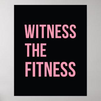 Testigo de la cita de entrenamiento el rosa del ne póster