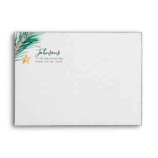 Testing Green and Gold Tropical Holiday Envelope