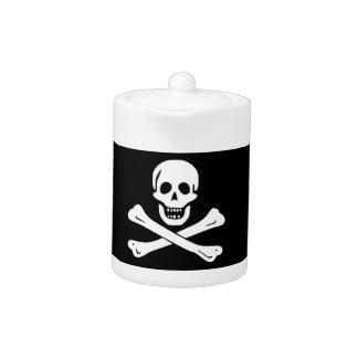 Tetera alegre de la bandera de pirata de Rogelio