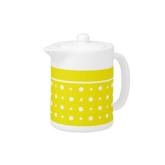 Tetera amarilla limón, lunares blancos