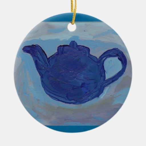 Tetera azul adorno navideño redondo de cerámica