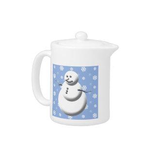 Tetera azul clara y blanca del muñeco de nieve del