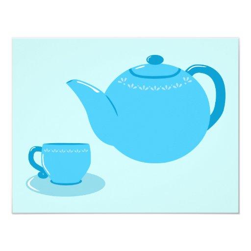"""Tetera azul clásica invitación 4.25"""" x 5.5"""""""
