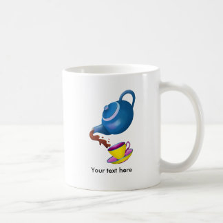 Tetera azul con la taza y el platillo amarillos