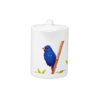 Tetera azul del pájaro