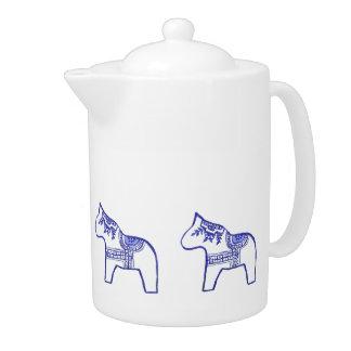 Tetera azul y blanca del caballo de Dala