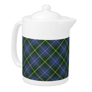 Tetera azul y verde del tartán/de la tela escocesa