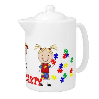 Tetera blanca de la porcelana de la fiesta del té