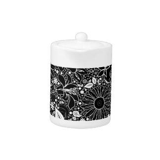 TETERA blanco y negro de las bellezas botánicas