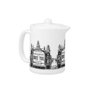 tetera blanco y negro del té del vintage
