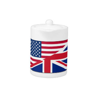 Tetera británica americana de la bandera del