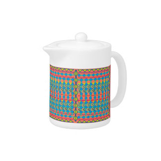Tetera con diseño geométrico colorido
