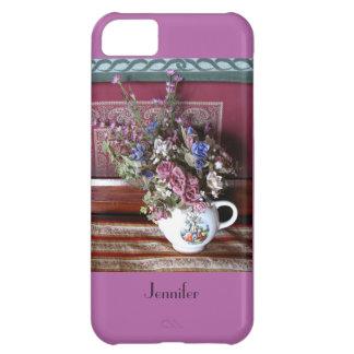 tetera con las flores, púrpura, orquídea del caso funda para iPhone 5C