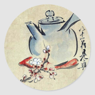 Tetera con los flores Ukiyoe de la cereza o del ci Pegatina Redonda