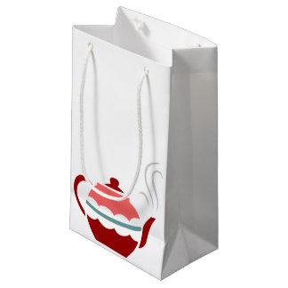 Tetera de cocido al vapor al vapor rosada bolsa de regalo pequeña