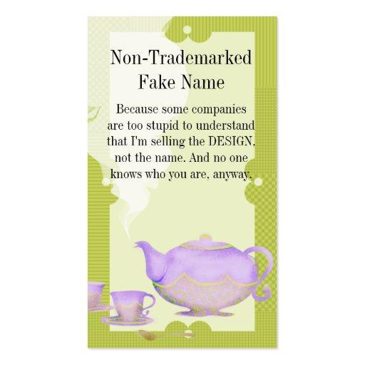 Tetera de la flor y tarjetas de visita púrpuras de