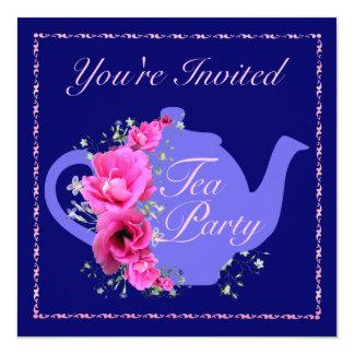 Tetera de las invitaciones de la fiesta del té y comunicados personales