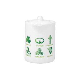 Tetera de los símbolos de Irsh, herencia irlandesa