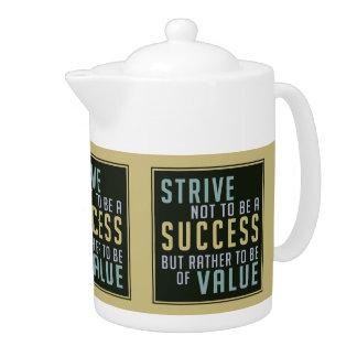 Tetera de motivación del éxito y del valor